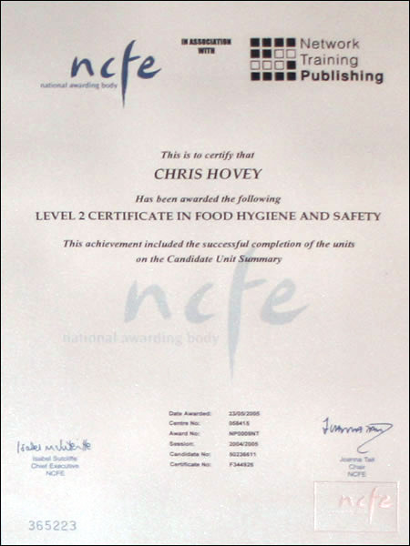 Food Hygiene Certificate To Be Shown
